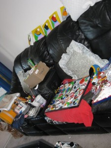 My couch, full of painted products for the BFBS show in October, 2011.